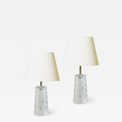 Orrefors Pair of Cut Crystal Table Lamps attrib Orrefors