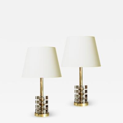 Orrefors Pair of Deco Inspired Lamps in Crystal and Brass by Carl Fagerlund