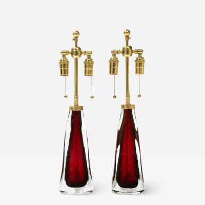 Orrefors Pair of Large Ruby Red Orrefors Lamps