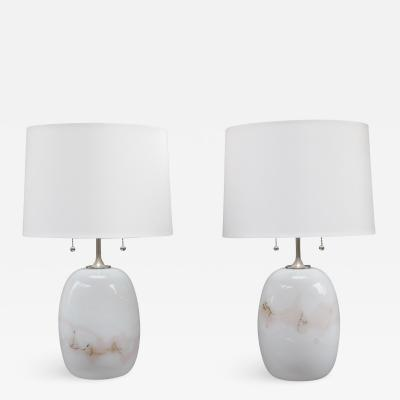Orrefors Pair of Michael Bang Art Glass Table Lamps