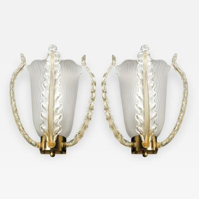 Orrefors Pair of Orrefors Brass and Glass Leaf Sconces