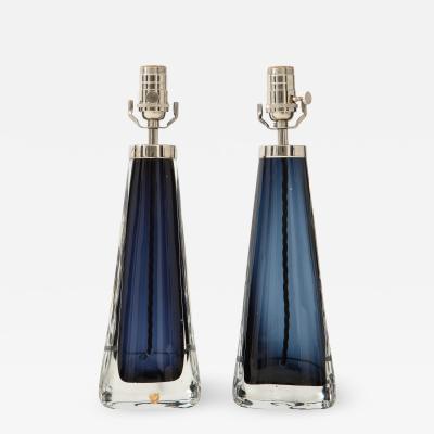 Orrefors Pair of Orrefors Crystal Lamps