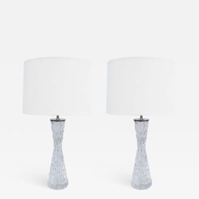 Orrefors Pair of Orrefors Large Crystal Table Lamps