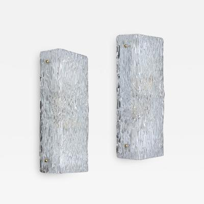 Orrefors Pair of Sconces in Textured Glass by Carl Fagerlund for Orrefors