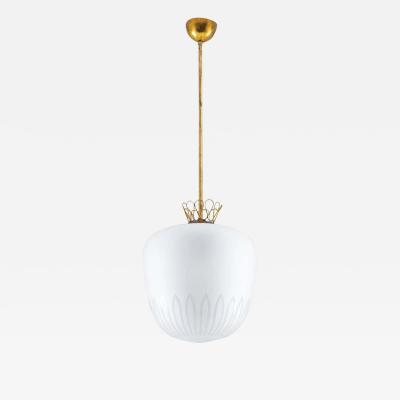 Orrefors Scandinavian Pendant in Brass and Glass Swedish Modern 1940s