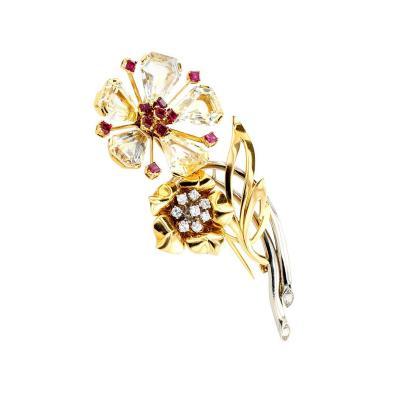 Oscar Heyman Brothers 1940s Oscar Heyman Sapphire Ruby Diamond Gold Brooch