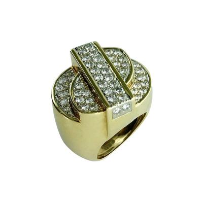 Oscar Heyman Brothers 1980s Heyman Brothers American Diamond and Gold Ring