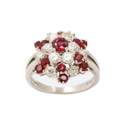 Oscar Heyman Brothers A Ruby Diamond Snowflake Cluster Ring