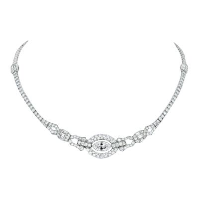 Oscar Heyman Brothers ART DECO PLATINUM ROUND CUT AND MARQUISE CUT FLOATING DIAMOND NECKLACE