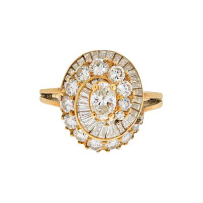 Oscar Heyman Brothers OSCAR HEYMAN 18K YELLOW GOLD 2 CARAT OVAL CUT DIAMOND HALO RING