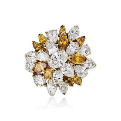 Oscar Heyman Brothers OSCAR HEYMAN COCKTAIL 18K YELLOW GOLD 5 46CTS CLUSTER DIAMOND RING