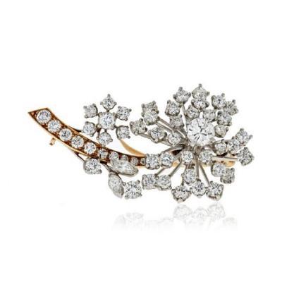 Oscar Heyman Brothers OSCAR HEYMAN DIAMOND 3 75 CARATS FLORAL BROOCH
