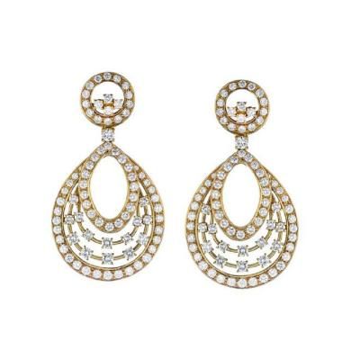 Oscar Heyman Brothers OSCAR HEYMAN HANGING 18K YELLOW GOLD 13 CARAT CHANDELIER DIAMOND EARRINGS