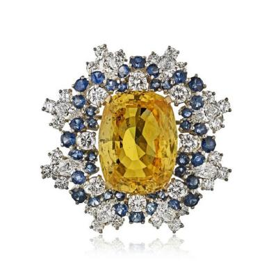 Oscar Heyman Brothers OSCAR HEYMAN PLATINUM 18K YELLOW GOLD 31 97 YELLOW SAPPHIRE DIAMOND BROOCH