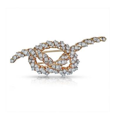 Oscar Heyman Brothers OSCAR HEYMAN PLATINUM 18K YELLOW GOLD 5 CARAT VINTAGE DIAMOND KNOT BROOCH