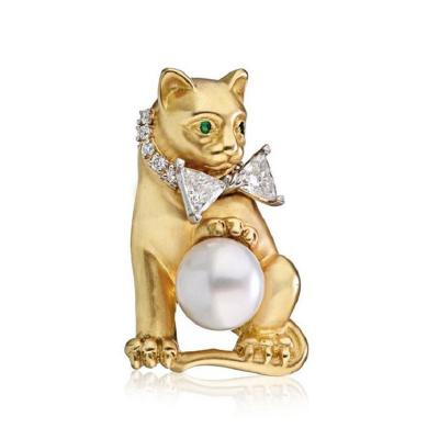 Oscar Heyman Brothers OSCAR HEYMAN PLATINUM 18K YELLOW GOLD PEARL DIAMOND CAT PENDANT