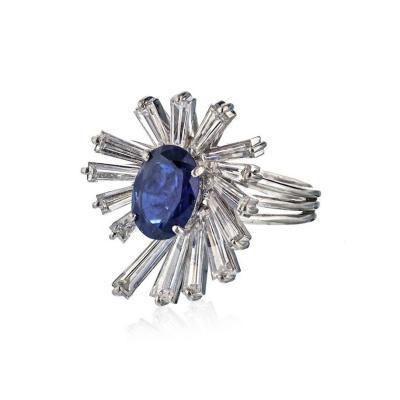Oscar Heyman Brothers OSCAR HEYMAN PLATINUM BLUE OVAL SAPPHIRE BAGUETTE DIAMOND RING