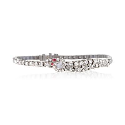 Oscar Heyman Brothers Oscar Heyman Art Deco Diamond Ruby Platinum Snake Bracelet