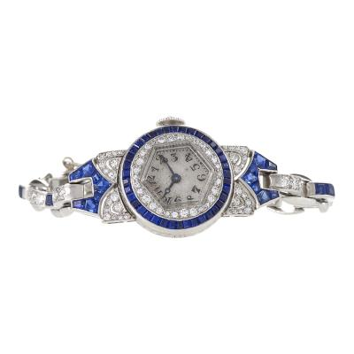 Oscar Heyman Brothers Oscar Heyman Art Deco Diamond Sapphire and Platinum Watch