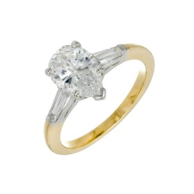 Oscar Heyman Brothers Oscar Heyman GIA Certified 1 45 Carat Pear Diamond Gold Platinum Engagement Ring