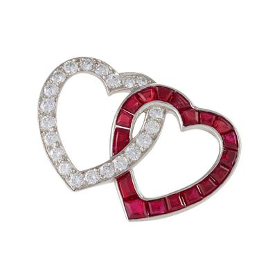 Oscar Heyman Brothers Oscar Heyman Mid 20th Century Diamond and Ruby Double Heart Brooch
