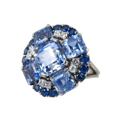 Oscar Heyman Brothers Oscar Heyman Natural Sapphire Diamond Ring