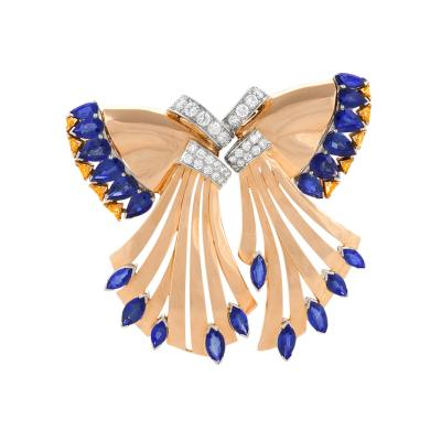 Oscar Heyman Brothers Oscar Heyman Retro Diamond and Sapphire Double Clip Brooch