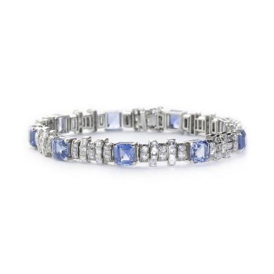 Oscar Heyman Brothers Oscar Heyman Sapphire Diamond Platinum Bracelet