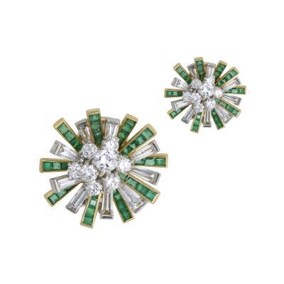 Oscar Heyman Brothers Oscar Heyman emerald and diamond earrings