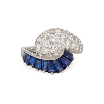 Oscar Heyman Brothers Retro Oscar Heyman Sapphire and Diamond Bypass Ring in Platinum