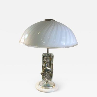 Ottaviani EXCEPTIONAL SILVER MURANO GLASS AND MARBLE LAMP BY OTTAVIANI