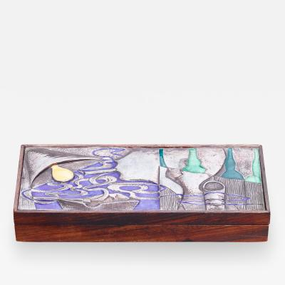 Ottaviani Ottaviani wood with silver and enamel box Italy 1960s