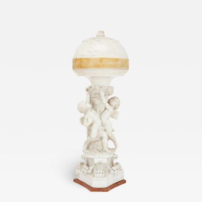 P Conti Italian Neoclassical style alabaster and marble lamp