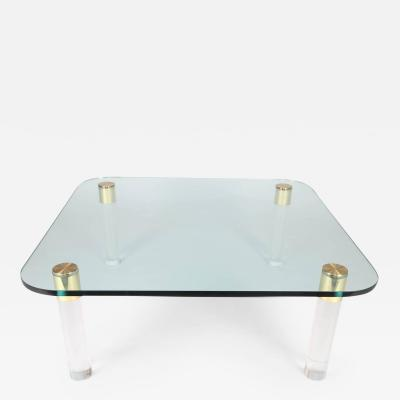 Pace Collection 1970s Brass Glass and Lucite Cocktail Table by Pace