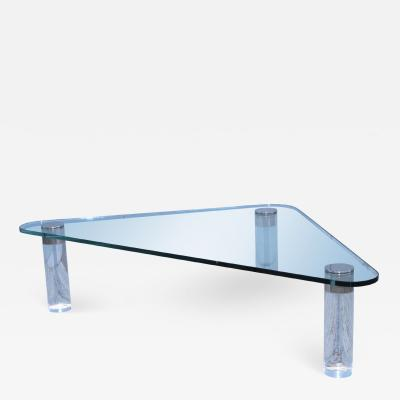 Pace Collection 1970s Pace Collection Custom Order Trinagular Large Lucite Coffee Table