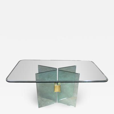Pace Collection All glass dining table with brass plated connector attr to the pace collection