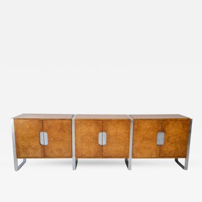 Pace Collection American Modern Burl Walnut and Brushed Chrome Sideboard Buffet Pace Collection