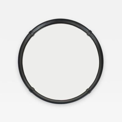 Pace Collection Circular Leather Wrapped Mirror by Pace