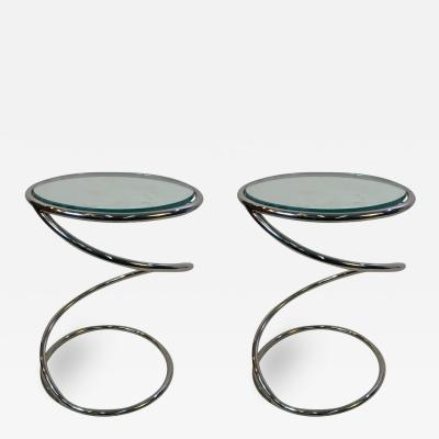 Pace Collection MODERNIST PAIR OF CHROME SPIRAL TABLES BY PACE