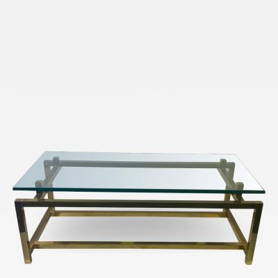 Pace Collection MODERNIST TUBULAR BRASS FRAME COFFEE TABLE BY PACE