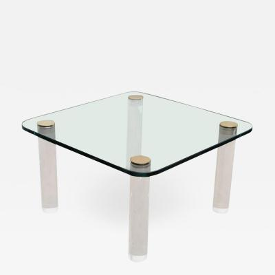 Pace Collection Mid Century Modern Pace Glass Brass and Lucite Occasional Table