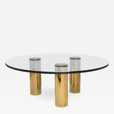 Pace Collection Mid century brass and Glass Cocktail Table Attributed to Pace Collection