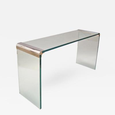 Pace Collection Pace Collection 3 4 Glass and Polished Chrome Plated Steel Console Table