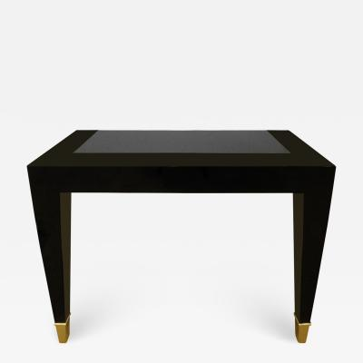 Pace Collection Pace Collection Black Lacquer Console Table with Inset Granite Top 1980s
