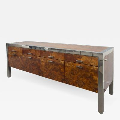 Pace Collection Pace Collection Burled Wood and Chrome Credenza