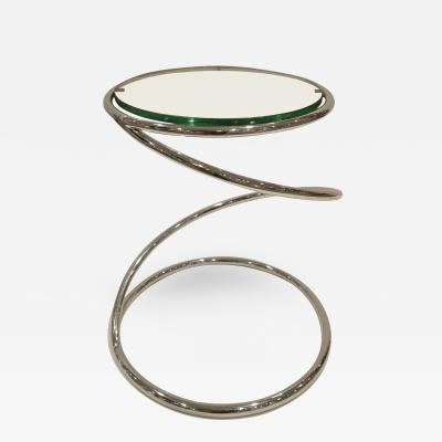 Pace Collection Pace Collection Coiled Occasional Table in Chrome and Glass 1970s