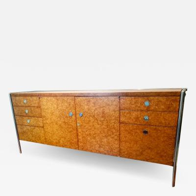 Pace Collection Pace Collection Custom Made Burled Olive and Chrome Credenza