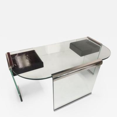 Pace Collection Pace Collection Glass and Metal Desk with Lucite Drawers