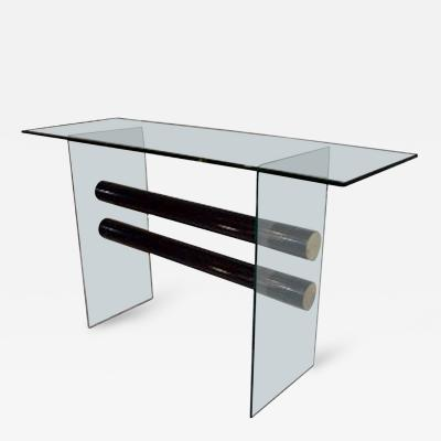 Pace Collection Pace Collection Glass and Steel Console Table
