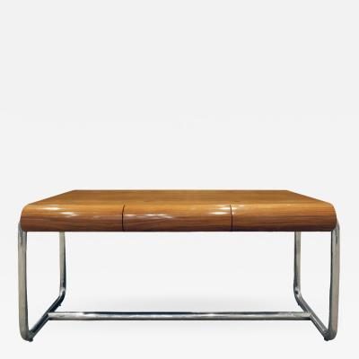 Pace Collection Pace Collection Large Desk in Lacquered Rosewood and Chrome 1970s